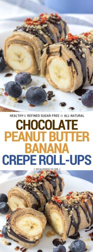 Crepes filled with smooth peanut butter spread and bananas, drizzled with raw chocolate. These Chocolate Peanut Butter Banana Roll-Ups are one amazing HEALTHY treat. Refined sugar-free, whole grain and packed with nutrients. Perfect breakfast, a quick snack or delicious dessert!  #breakfast #kidsfriendly #healthy #healthyrecipe #kidssnack #weightloss #healthylife #cleaneating #whole30 #healthyeating #dessert #snack | NATALIESHEALTH.com