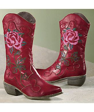 Spring Footwear, Cheyenne Leather Boot from Monroe and Main. Pieced leather, embroidery and fleece lining. www.monroeandmain.com