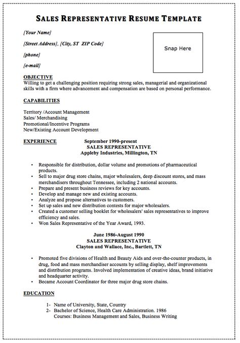 Sales Representative Resume Template Snap Here MACROBUTTON - sales representative resume templates