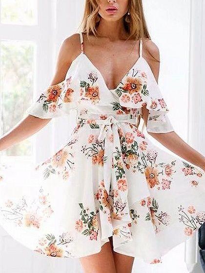 Ladies Floral Print Tie Waist Wrap Over V-Neck Midi Dress Plunge Short Sleeve