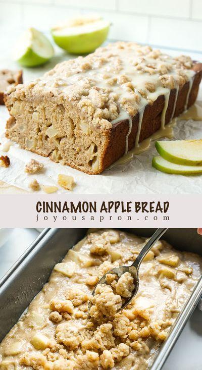 Quick Bread Recipes, Healthy Dessert Recipes, Apple Recipes, Fall Recipes, Delicious Desserts, Yummy Food, Baked Breakfast Recipes, Apple Cinnamon Bread, Apple Bread