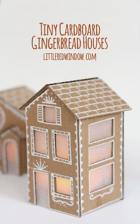 Tiny Cardboard Gingerbread Houses - Little Red Window - - Make your own adorable Tiny cardboard Gingerbread Houses from recycled materials! They're so charming and easy to make! Cardboard Gingerbread House, Gingerbread House Template, Christmas Gingerbread House, Noel Christmas, All Things Christmas, Winter Christmas, Gingerbread Houses, Cardboard Houses, Christmas Houses