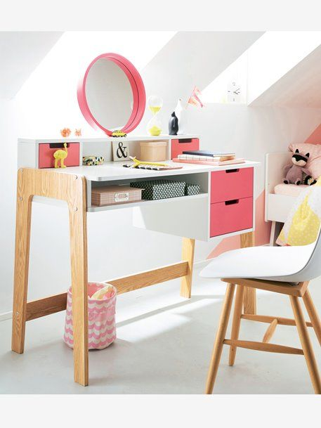 Bureau Coiffeuse Special Primaire Colors Blocs Blanc Rose