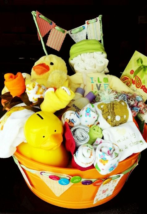 Duck Theme Diaper Baby Gift Basket