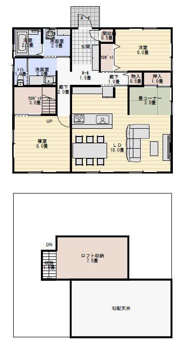 二人暮らしの小規模の平屋の間取り図 平屋間取り 間取り 間取り図 20坪 間取り
