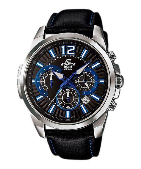 Casio Edifice Quartz Chronograph Date Black Leather Watch# (Men Watch)