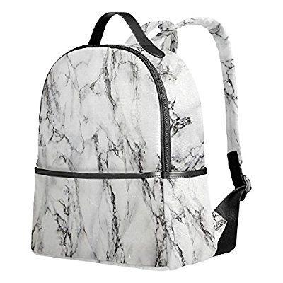 School Backpack, Marble Print Book Bag Bookbag Travel Large