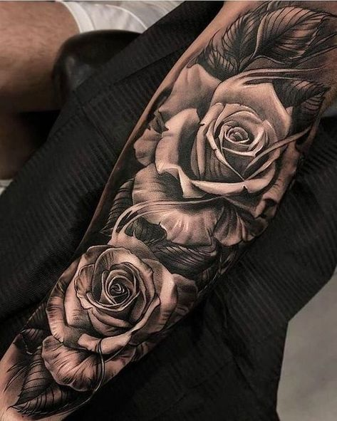 Rose sleeve tattoo - Galena U.- Rose sleeve tattoo – Galena U.
