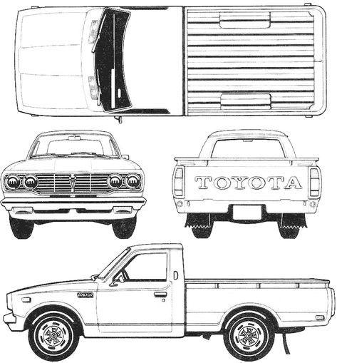 Toyota Hilux Pickup Blueprint Toyota Hilux Toyota Trucks Blueprints