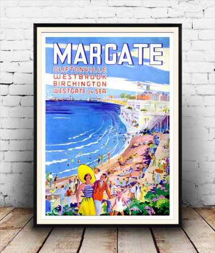 Details About Margate Vintage Travel Advertising Reproduction Poster Wall Art Wall Art Art Vintage Posters