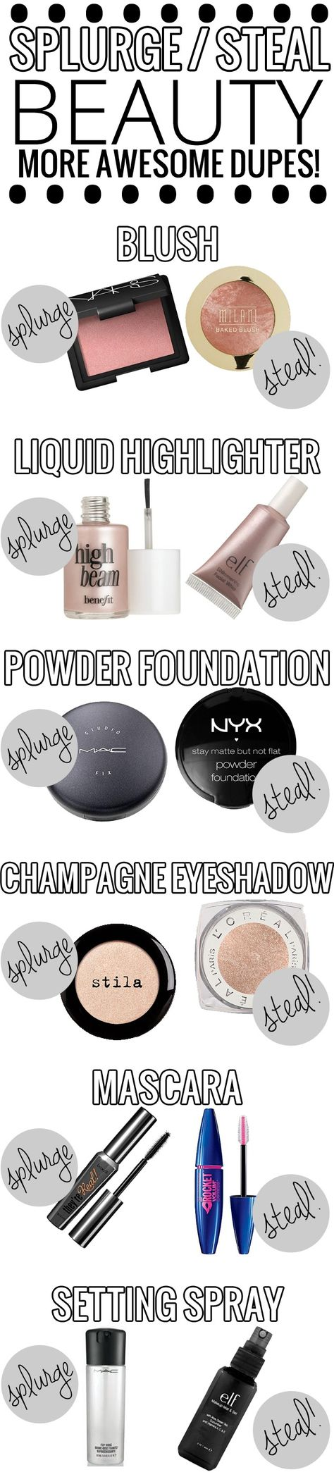 Splurge vs. Steal Beauty - AWESOME list of drugstore dupes for high end makeup!