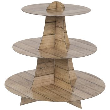 Wood Plank Print Three Tier Cupcake Stand In 2020 With Images