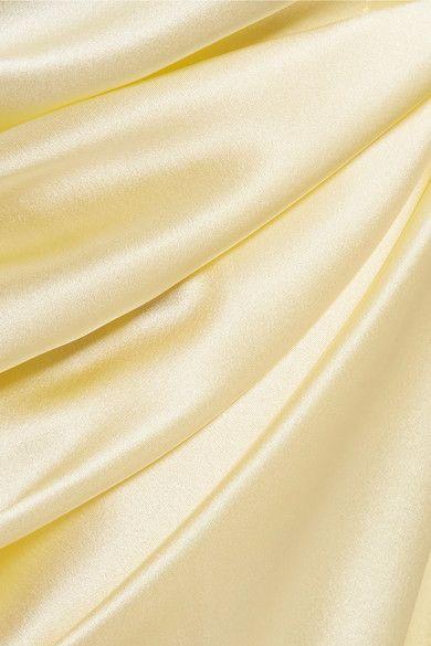 Pantalon Large Jambe Soie Satin - Jaune Pastel Michael Lo Sordo V9mRwhBa7