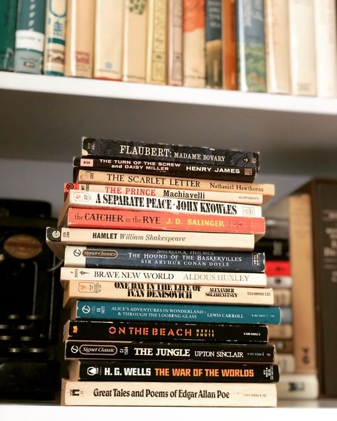 """macrolit:  """" Giveaway Contest: We're giving away fifteen vintage paperback classics by Edgar Allan Poe, J.D. Salinger, Aldous Huxley, Nevil Shute, Shakespeare, and others! Won't this collection look..."""