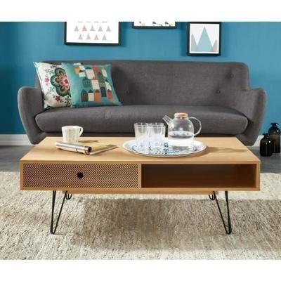 Colette Table Basse Scandinave Decor Chene Et Impression Vintage