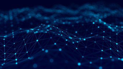 Big Data Visualization 3d Technology Blue Wave Analytics