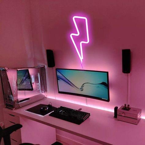 Bedroom Setup, Room Ideas Bedroom, Bedroom Decor, Gaming Room Setup, Computer Gaming Room, Gamer Setup, Cool Gaming Setups, Best Gaming Setup, Gaming Rooms