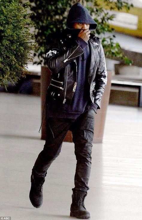 Black Boots Black Jeans Black Leather Jacket Navy Hoodie Kanye Kanye West Style Kanye Fashion Mens Fashion Streetwear