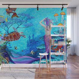 Mermaid And Seaturtle Wall Mural