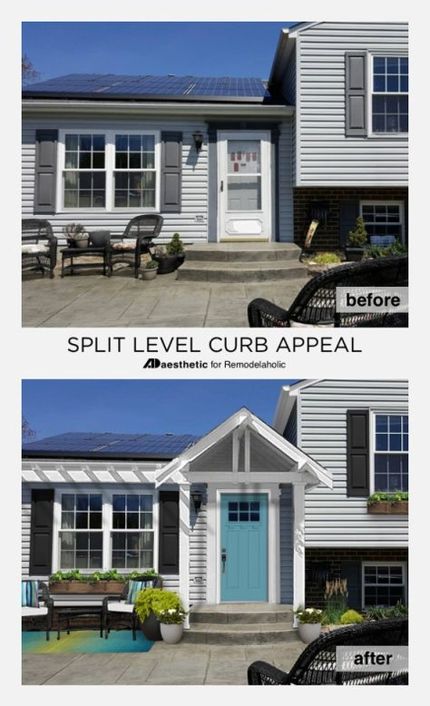Split Level Curb Appeal How To Add Character And Architectural Interest To The Exter Split Level Remodel Exterior Home Exterior Makeover Raised Ranch Remodel