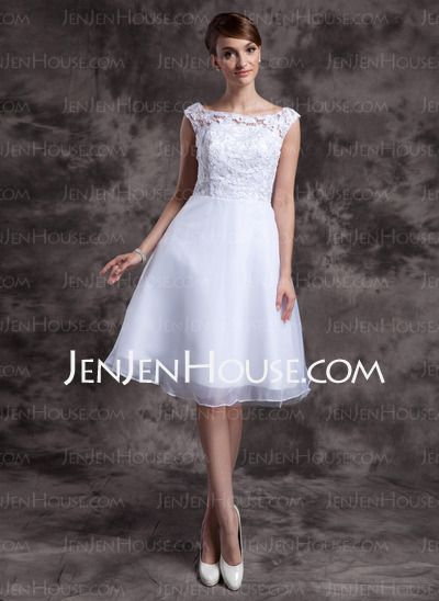 Wedding Dresses - $128.69 - A-Line/Princess Scoop Neck Knee-Length Organza Lace Wedding Dresses (002015023) http://jenjenhouse.com/A-Line-Princess-Scoop-Neck-Knee-Length-Organza-Lace-Wedding-Dresses-002015023-g15023