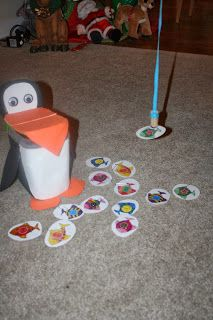 Create a penguin from a dish detergent container and go fishing!  Free fish on this blog! Differentiation Station Creations