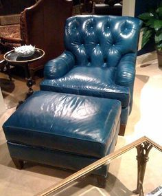 Incredible Blue Leather Chair And Ottoman Table And Chairs White Dailytribune Chair Design For Home Dailytribuneorg