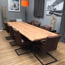 Huge 2200 3200mm Extending Dining Table Oak Steel Leg 8 Brown
