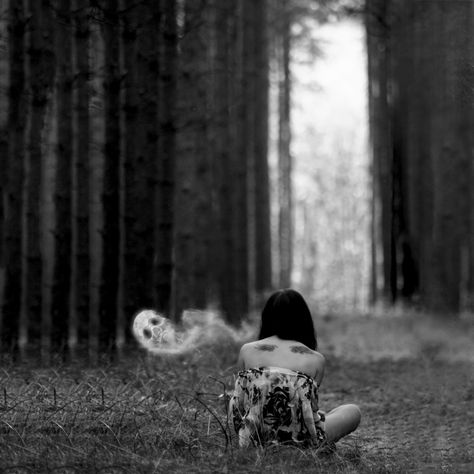 Alone with my demons black and white dark girl outdoors sad woods ghost