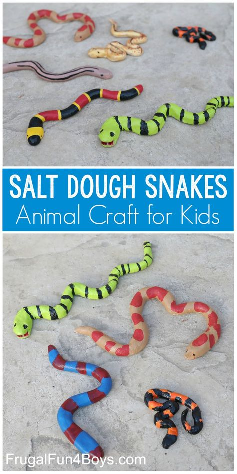 animals activities for kids Salt Dough Snake Craft - Frugal Fun For Boys and Girls Animal Crafts For Kids, Easy Crafts For Kids, Craft Activities For Kids, Toddler Crafts, Preschool Crafts, Art For Kids, Science Activities, Summer Activities, Activities For Babysitting