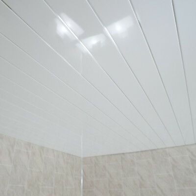Grey Marble /& Twin Chrome Strip Bathroom Wall Panels PVC Kitchen Shower Cladding