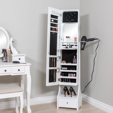 Best Choice Products Full Length Standing Led Mirrored Jewelry Makeup Storage Organizer Cabinet Armoire W Stylish Bedroom Cute Room Decor Makeup Storage Mirror