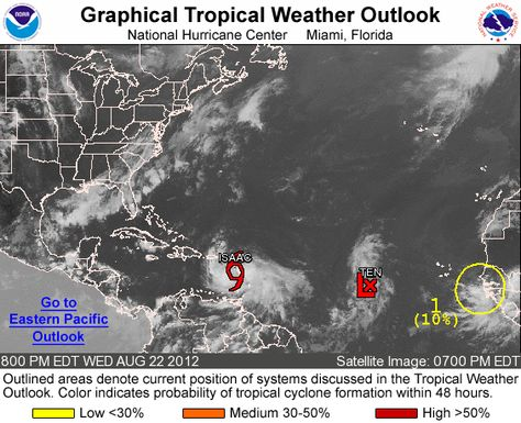 Atlantic Graphical Tropical Weather Outlook So Another System Just Formed Pretty Awesome 8 22 12 8 21 Pm Tropical National Hurricane Center Satellite Image