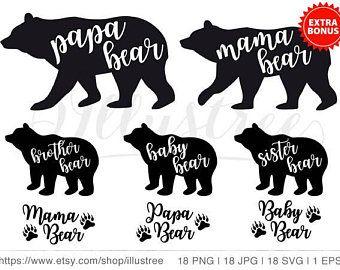 Bear Family Etsy Papa Bear Mama Bear Bear Silhouette