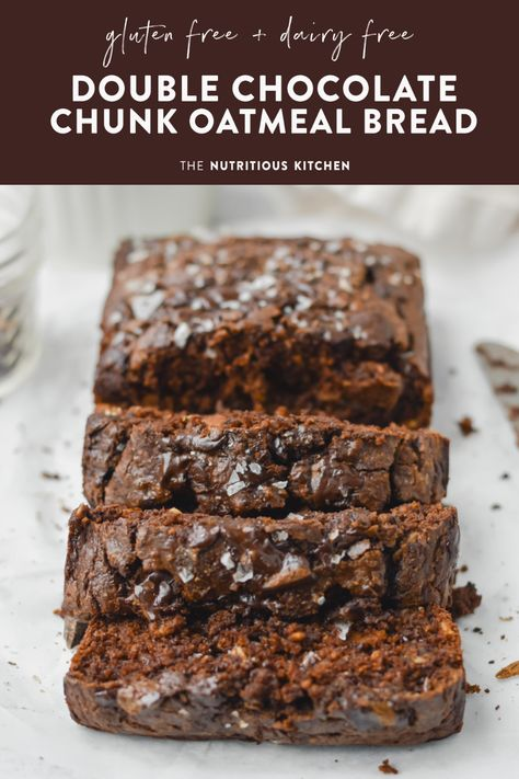 Gluten Free Double Chocolate Chunk Oatmeal Bread! Made with pantry staple ingredients, low in sugar, dairy free and extra chocolate fudge flavor #chocolatechip #oatmealcookies #glutenfreerecipes #easyrecipes #chocolatemuffins #oatmealbread