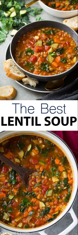 BEST Lentil Soup - quick prep easy to make great flavor! It's packed with fresh veggies zesty Italian flavors and plenty of protein rich lentils. A filling comforting soup perfect for serving any day of the year! via Jaclyn {Cooking Classy} Lentil Soup Recipes, Easy Lentil Soup, Italian Lentil Soup Recipe, Crockpot Lentil Soup Recipe, Tomato And Lentil Soup, Soup With Lentils, Recipes For Lentils, Easy Veggie Soup, Green Lentil Soup