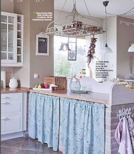 Soft Blue White Kitchen Cabinet Curtain Ecru Wall Color And Brick