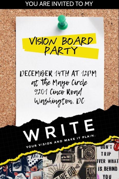 Vision Board Party Invitation Vision Board Party Vision Board Invitation Party Invite Design