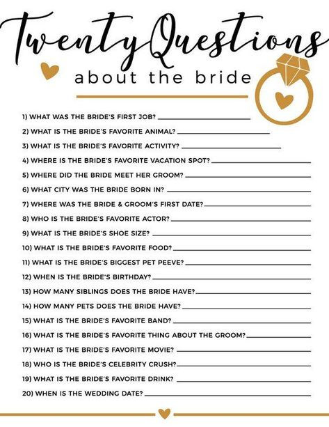 20 Questions Bridal Shower Game in 2019