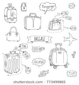 Hand Drawn Doodle Baggage Icons Set Vector Illustration Different Types Of Baggage Large And Small Suitcase Hand How To Draw Hands Doodles Planner Doodles