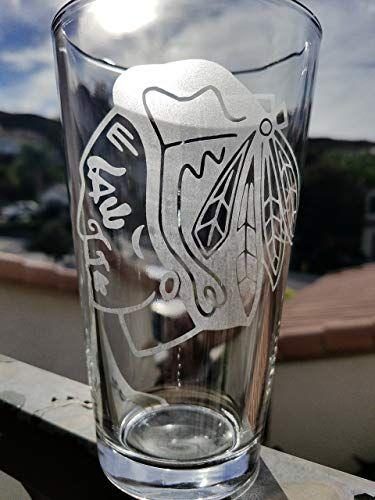 Blackhawks Hockey Inspired 16 Oz Pint Glass Nhl Beer Glasses Chicago Beer Glasses Pint Glass Glass
