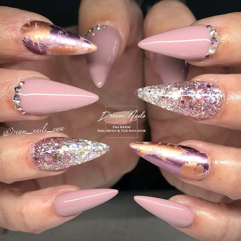 """145 Likes, 5 Comments - Ewa Krzos Nail Artist&Educator (@dream_nails_ewa) on Instagram: """"Upgraded version of my design, with glitter ombré, foils and Swarovski crystals ❤️…"""""""