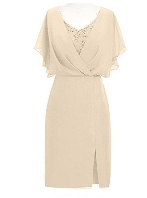 Sheath Scoop Short Sleeves Beige Mother of The Bride Dress with Beading Split