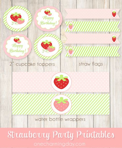 Free Strawberry Party Printables - One Charming Day