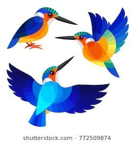 Kingfisher Geometric Insects In 2020 Kingfisher Illustration Kingfisher Art Kingfisher Painting