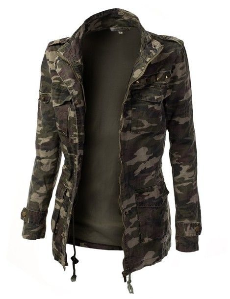 Womens Trendy Camo Military Cotton Drawstring Jacket with Studs