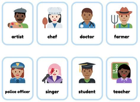 Jobs Esl Flashcards Made From Emoji Free And Printable Learning English For Kids Printable Flash Cards Flashcards For Kids