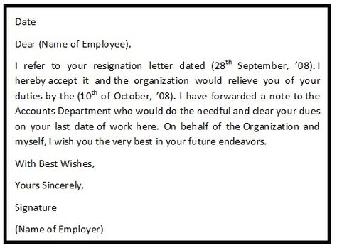 A resignation acceptance letter is the letter to an employee from - cease and desist form