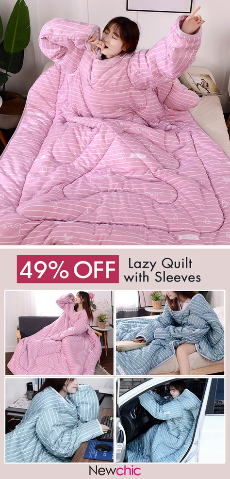 【49% off】120x160cm Winter Lazy Quilt with Sleeves Warm Thick Quilt Anti Kick Blanket Bedding.#bedroom #winterwarm #lazyquilt