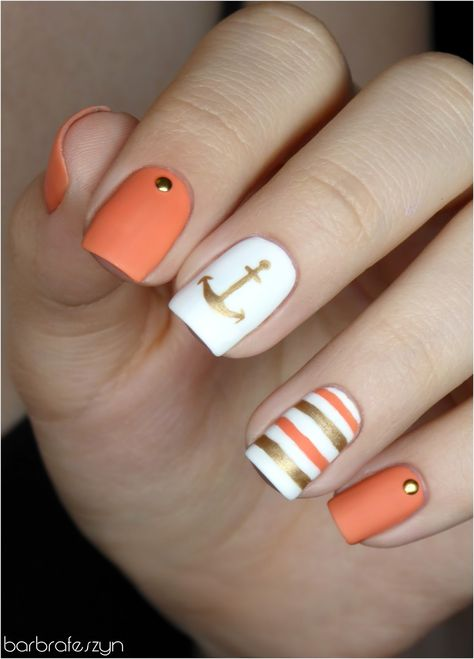 Hey there lovers of nail art! In this post we are going to share with you some Magnificent Nail Art Designs that are going to catch your eye and that you will want to copy for sure. Nail art is gaining more… Read Best Acrylic Nails, Acrylic Nail Designs, Nail Art Designs, Anchor Nail Designs, Stylish Nails, Trendy Nails, Hair And Nails, My Nails, Jamberry Nails